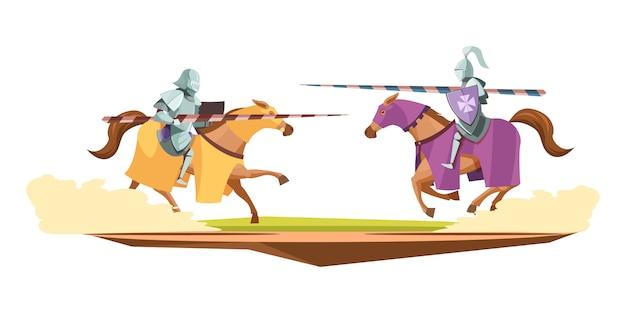 Mittelalterliche strickwettbewerb-karikatur-zusammensetzung