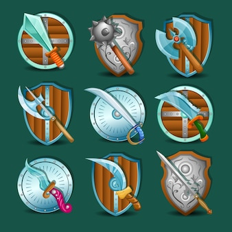 Mittelalterliche waffe und schilde symbol set