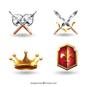 Mittelalterliche waffen und krone