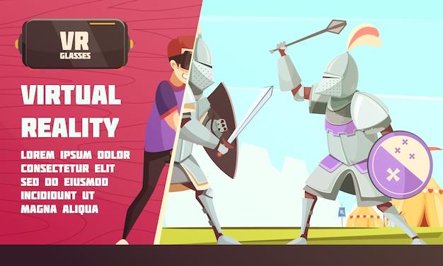 Mittelalterliche wettbewerbsanzeige für virtuelle realität