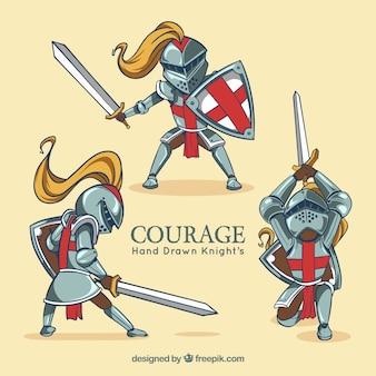 Mittelalterlicher krieger in verschiedenen posen