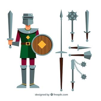 Mittelalterlicher krieger mit verschiedenen waffen