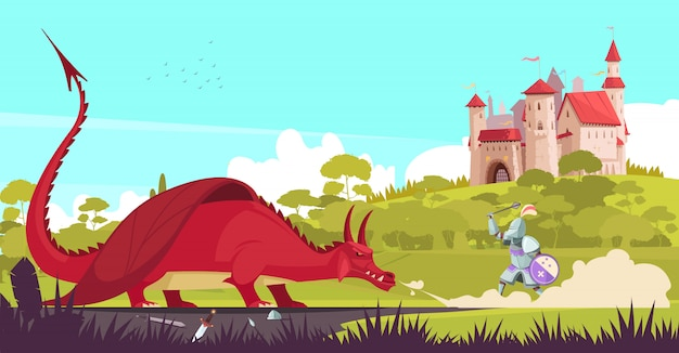 Mittelalterlicher legendärer ritterkrieger, der heftigen drachen nahe schloss kämpft, um märchenkarikatur der prinzessin zu retten