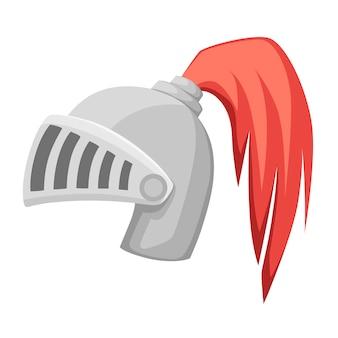 Mittelalterlicher metallritterhelm. silberfarbene rüstung. krieger ritter logo, emblem, symbol, sportmaskottchen. flache illustration lokalisiert auf weißem hintergrund.