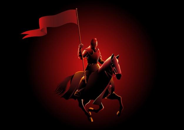 Mittelalterlicher ritter auf dem pferd, das eine flagge trägt