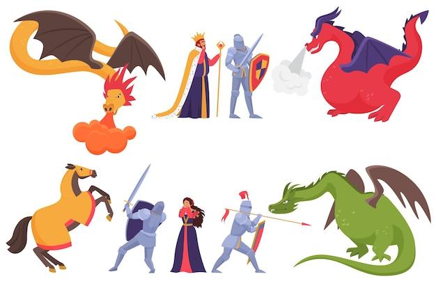 Mittelalterlicher ritter und drache, cartoon-märchenprinz, der mit dem fantasiemonster isoliert kämpft Premium Vektoren