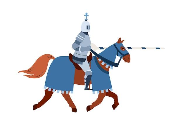 Mittelalterlicher ritterreiter bewaffnet mit der flachen vektorillustration der lanze isoliert