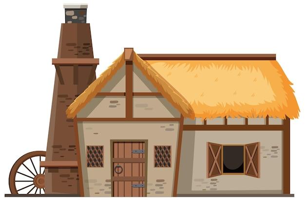 Mittelalterliches bauernhaus isoliert auf weißem hintergrund