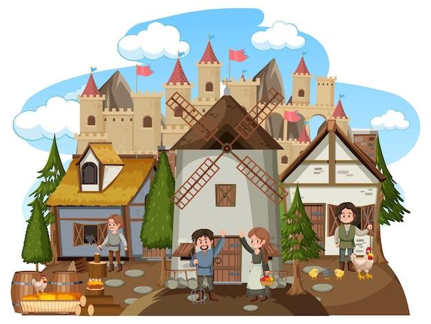 Mittelalterliches dorf mit windmühle und dorfbewohnern