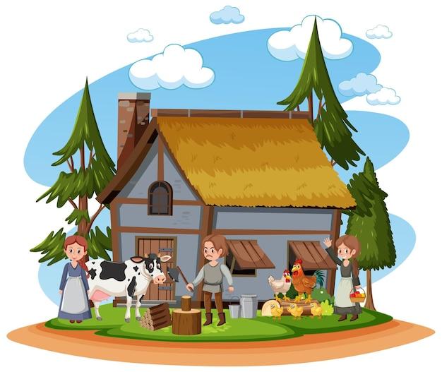 Mittelalterliches haus mit dorfbewohnern und nutztieren