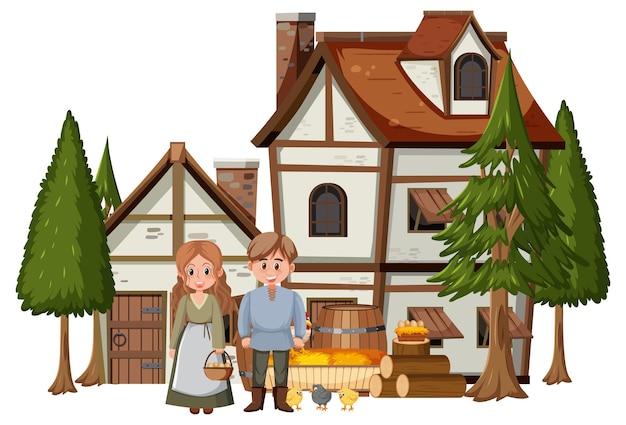 Mittelalterliches haus mit dorfbewohnern