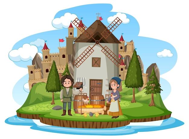 Mittelalterliches haus mit windmühle und dorfbewohnern