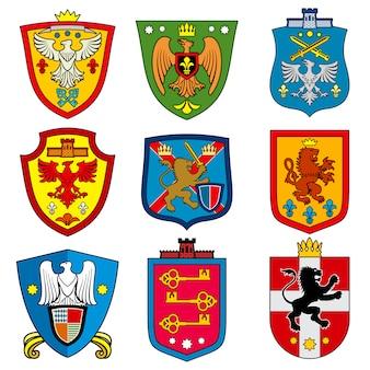 Mittelalterliches königliches wappen der familiendynastie auf schild
