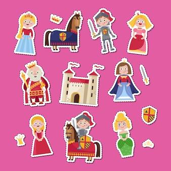 Mittelalterliches märchenset im cartoon-stil