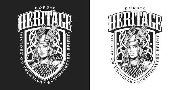 Mittelalterliches nordisches wikinger-vintage-label mit inschriften und hübscher walküre in geflügeltem helm