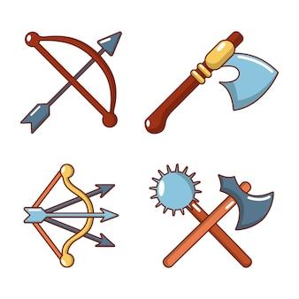 Mittelalterliches rüstungsikonenset. karikatursatz mittelalterliche rüstungsvektorikonen stellte lokalisiert ein