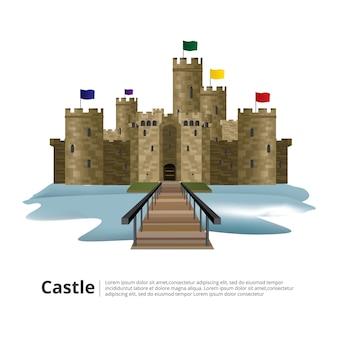 Mittelalterliches schloss mit hight tower- und wandvektorillustration