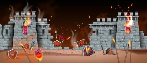Mittelalterliches spiel schlacht hintergrund vektor schlachtfeld krieg landschaft steinburg ruine wand feuer rauch