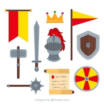 Mittelalterliches zubehör mit buntem stil
