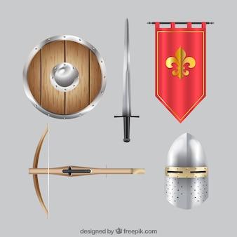 Mittelalterliches zubehör mit realistischem stil