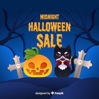 Mitternachtshalloween-verkauf mit vampirskatze und kürbis