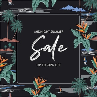 Mitternachtssommerverkauf mit palme, welle, strand, exotischer blumenillustration