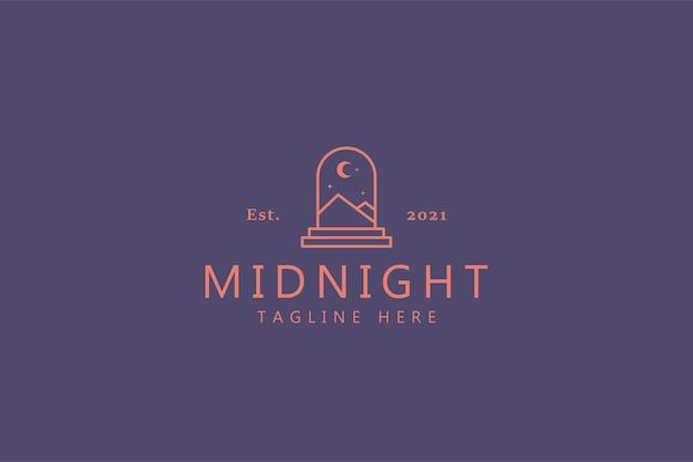 Mitternachtszusammenfassungs-illustrations-konzept-logo