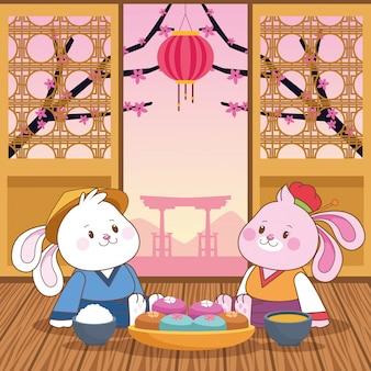 Mittlere chinesische festivalkarikatur des herbstes