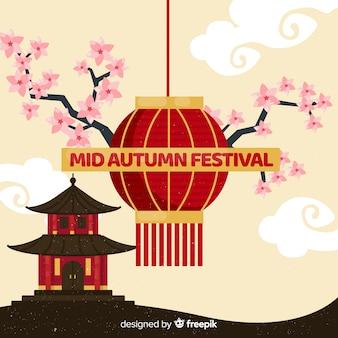 Mittleres herbstfestival-hintergrunddesign im flachen design