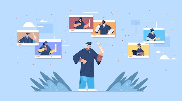 Mix-race-absolventen in webbrowser-fenstern glückliche absolventen, die das akademische diplom der universitätsausbildung feiern