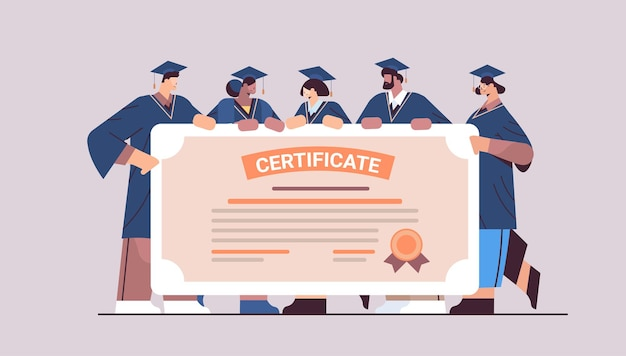 Mix race absolventen mit zertifikat glückliche absolventen feiern akademisches diplom hochschulbildungskonzept horizontal in voller länge concept