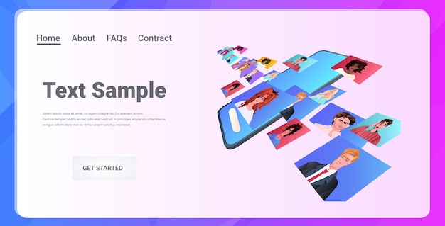 Mix race freunde diskutieren während videoanruf virtuelle konferenz online-kommunikation selbstisolation konzept horizontale kopie raum illustration