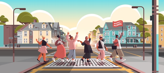 Mix race girls aktivisten stehen zusammen weibliche empowerment bewegung frauengemeinschaft union der feministinnen konzept stadtbild hintergrund horizontale vektor-illustration in voller länge