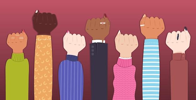 Mix race hob frauenfäuste weibliche empowerment bewegung mädchen power union der feministinnen konzept horizontale vektor-illustration