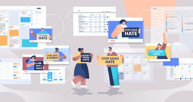 Mix-race-leute, die textplakate gegen rassismus halten, stoppen asiatische hassunterstützung während der covid-19-pandemie Premium Vektoren