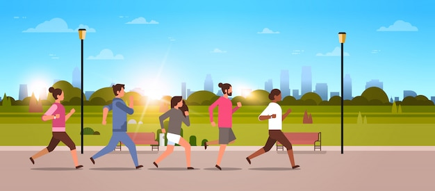 Mix race leute joggen