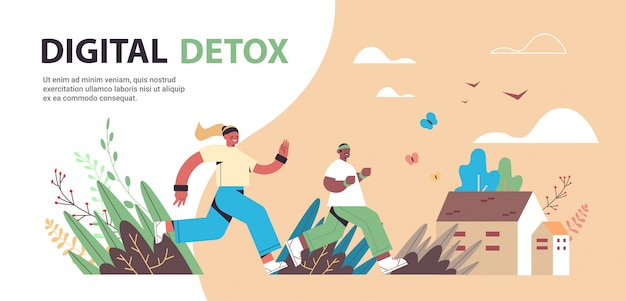 Mix race man woman running people verbringen zeit ohne gadgets digital detox offline-aktivitäten konzept