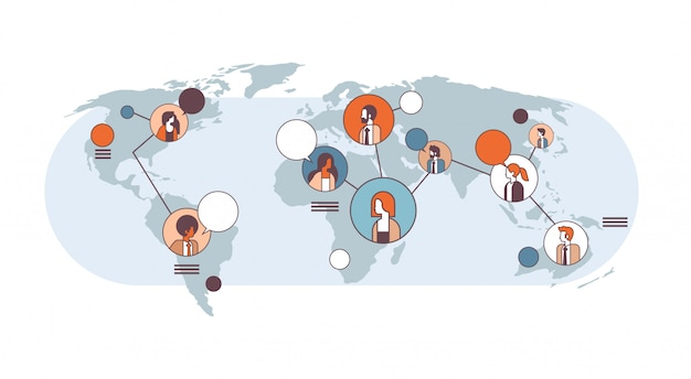 Mix race menschen avatar social media globale kommunikationskonzept internet-netzwerk-verbindung weltkarte