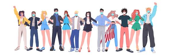 Mix race menschen drängen sich in masken, die am arbeitstag zusammenstehen
