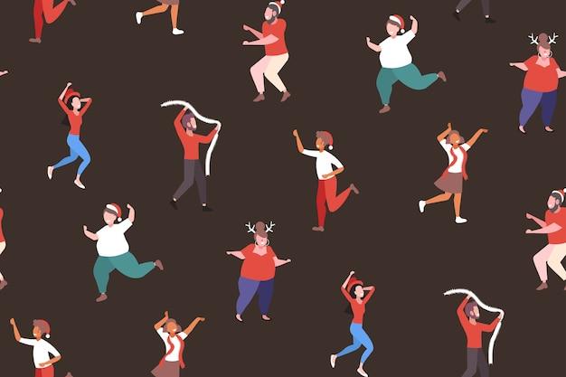 Mix race menschen tanzen mit spaß frohe weihnachten urlaub feier unternehmensparty konzept nahtlose muster vektor-illustration