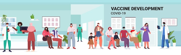 Mix race patienten sitzen im krankenhaus korridor menschen warten auf covid-19-impfstoff coronavirus prävention medizinische impfkampagne in voller länge horizontale illustration