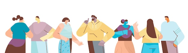 Mix race people group in freizeitkleidung männer frauen stehen zusammen comicfiguren porträts horizontale vektor-illustration
