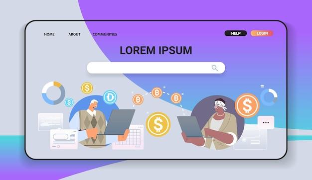 Mix race senior geschäftsleute senden geld online-überweisung internet-zahlung kryptowährung blockchain-konzept horizontale porträtvektorillustration