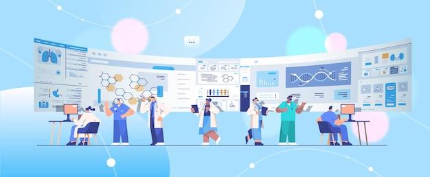 Mix-race-wissenschaftler-team analysiert medizinische daten zu virtual board medicine healthcare virtual