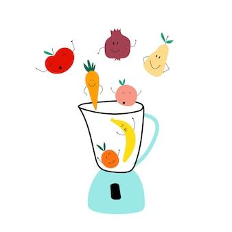 Mixer mit früchten apfel banane pfirsich birne granatapfel karotte lustige comic-früchte