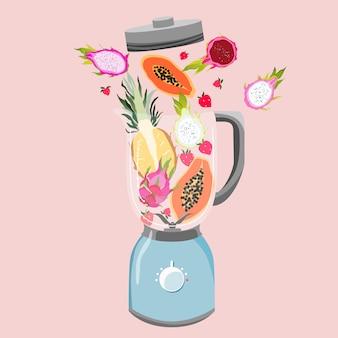 Mixer mit früchten gefüllt. vielzahl von tropischen früchten in einem mixer. gesundes essen und fitnesskonzept. smoothie-zubereitung. trendige illustration.