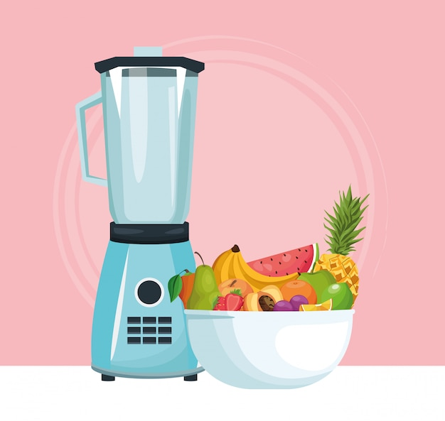 Mixer und schüssel mit tropischen früchten