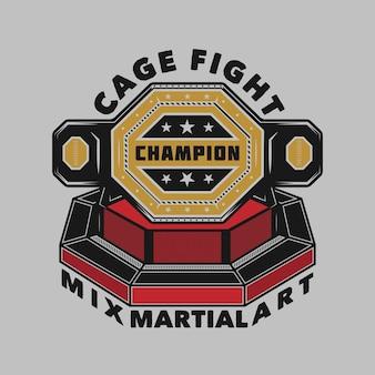 Mma-champion im achteck-käfigkampf
