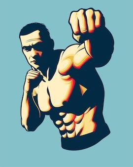 Mma fighter punching pose für poster oder merchandise designelement