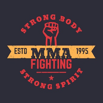 Mma fighting logo, emblem, mma t-shirt design, vintage druck, illustration